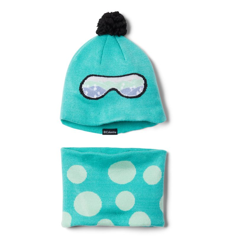 Youth Snow More™ Hat and Gaiter Set | 356 | O/S Toddlers' Snow More Hat and Gaiter Set, Dolphin Dots Print, front