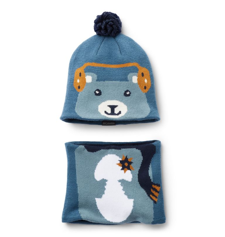 Youth Snow More™ Hat and Gaite | 407 | O/S Ensemble Bonnet Tour De Cou Snow More Enfant, Blue Heron Bear, front