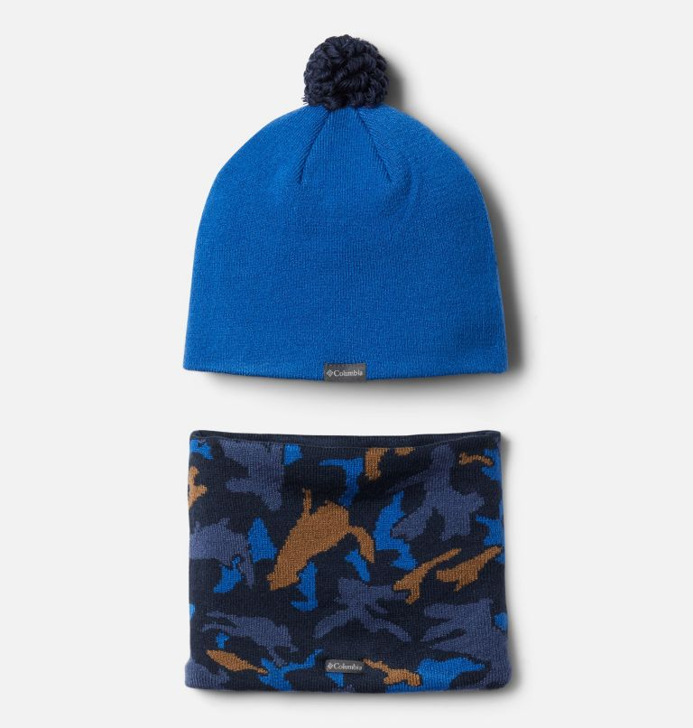 Youth Snow More™ Hat and Gaiter Set   432   O/S Toddler Snow More™ Hat and Gaiter Set, Bright Indigo Critter Camo, back
