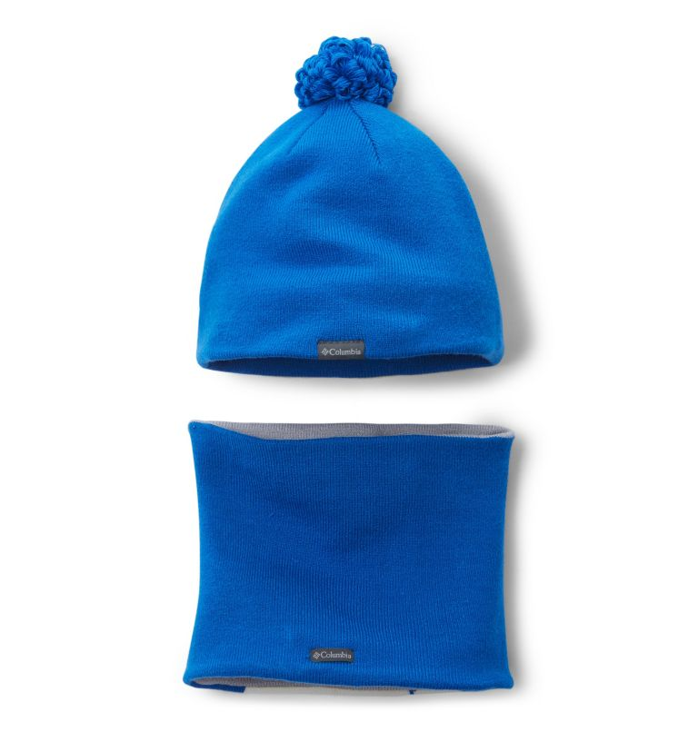 Youth Snow More™ Hat and Gaite | 438 | O/S Toddlers' Snow More Hat and Gaiter Set, Super Blue Fox, back