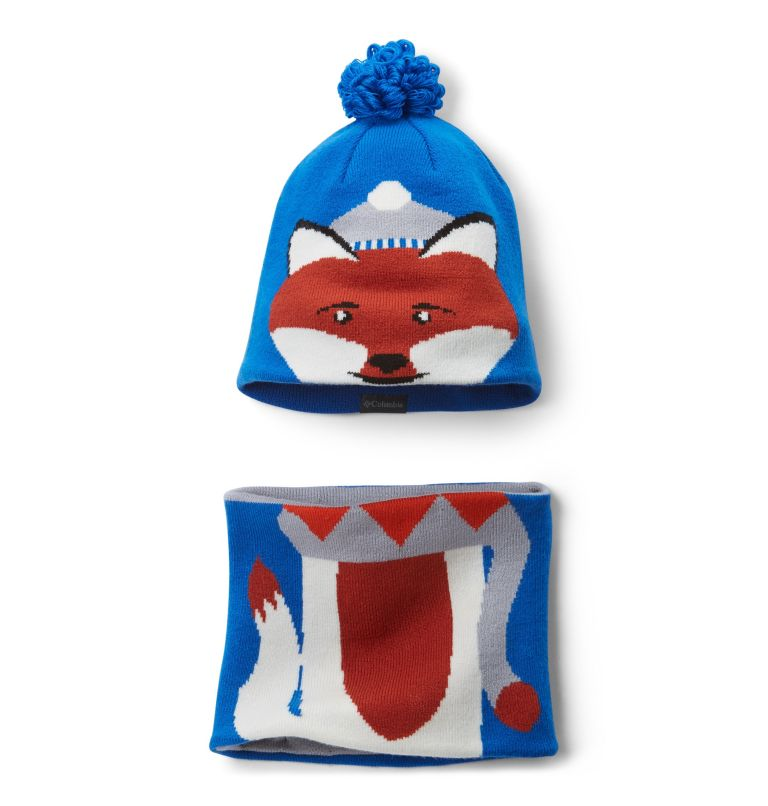 Youth Snow More™ Hat and Gaite | 438 | O/S Toddlers' Snow More Hat and Gaiter Set, Super Blue Fox, front