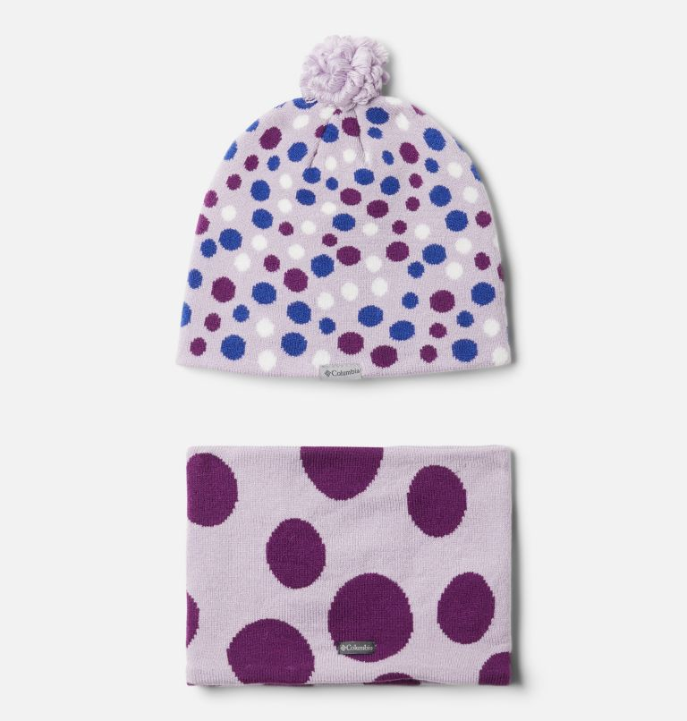 Youth Snow More™ Hat and Gaiter Set | 584 | O/S Toddler Snow More™ Hat and Gaiter Set, Pale Lilac Dots Print, back