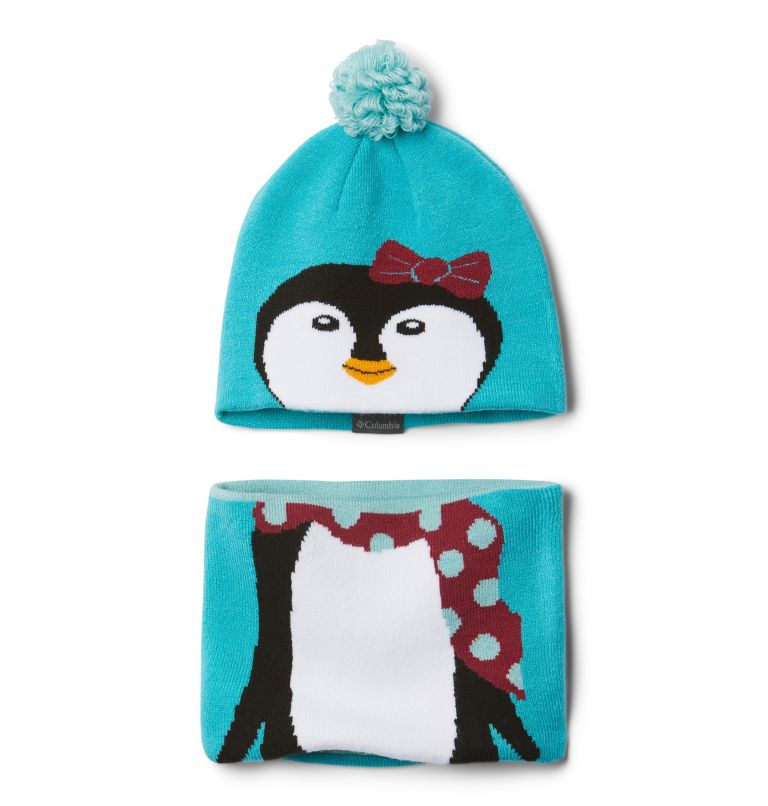 Youth Snow More™ Hat and Gaite | 336 | O/S Infant Snow More™ Hat and Gaiter Set, Geyser Penguin, front