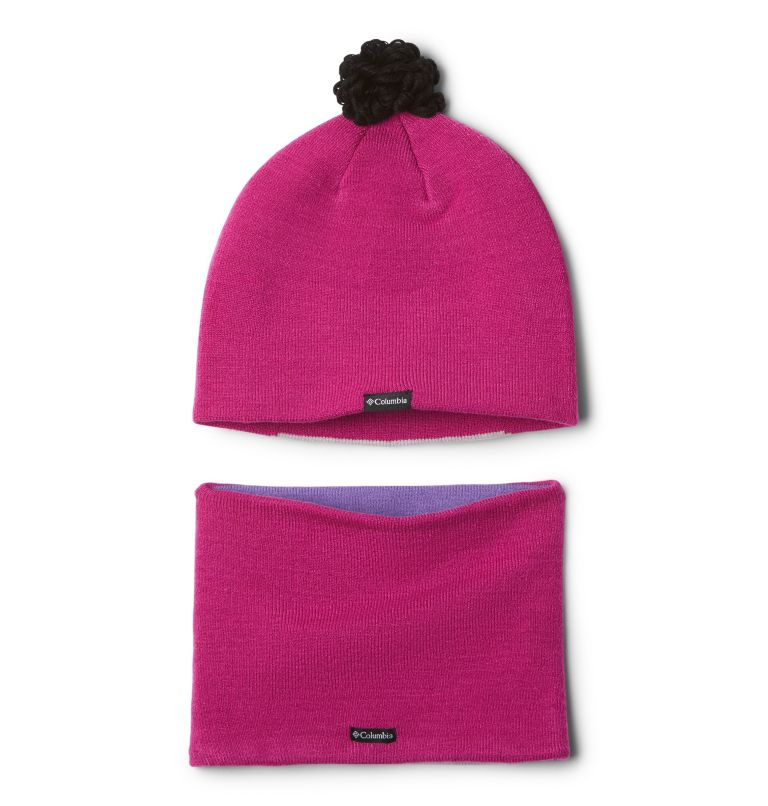 Youth Snow More™ Hat and Gaite | 695 | O/S Ensemble de tuque et de cache-cou Snow More™ pour bébé, Pink Ice Bear, back