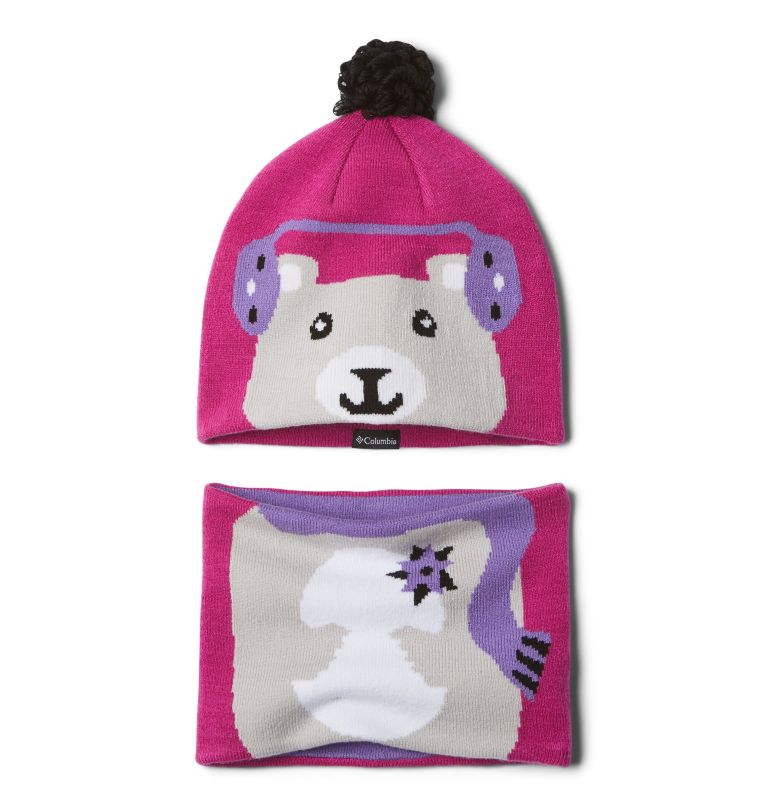 Youth Snow More™ Hat and Gaite | 695 | O/S Ensemble de tuque et de cache-cou Snow More™ pour bébé, Pink Ice Bear, front