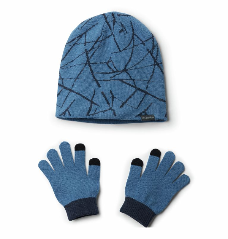 Youth Hat and Glove Set™ II | 438 | O/S Ensemble Bonnet Gants Set II Junior, Super Blue Print, front