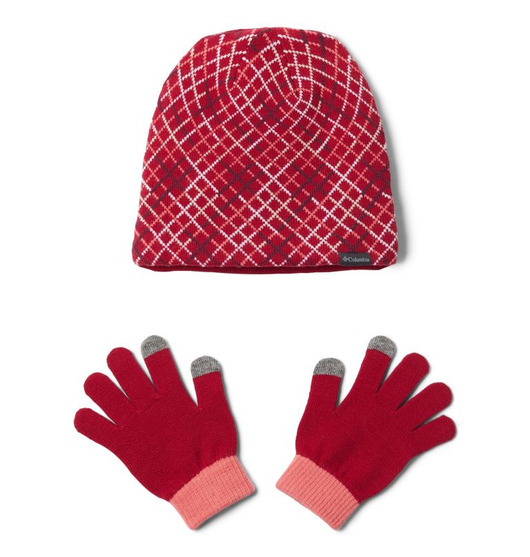 Youth Hat and Glove Set™ II | 623 | O/S Youth Hat and Glove Set II, Pomegranate Grid, front