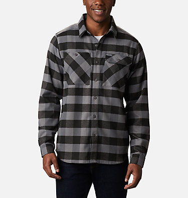 Camisa de franela elástica Outdoor Elements para hombre Outdoor Elements™ Stretch Flannel | 023 | S, City Grey Buffalo Plaid, front