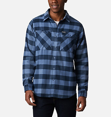 Men's Outdoor Elements Stretch Flannel Shirt Outdoor Elements™ Stretch Flannel | 023 | S, Collegiate Navy Buffalo Plaid, front