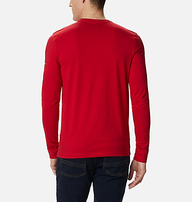 Men's Columbia Lodge™ Long Sleeve Graphic T-shirt Columbia Lodge™ LS Graphic Tee | 011 | S, Mountain Red CSC Retro Squiggle Gradient, back