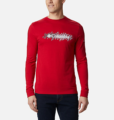 Men's Columbia Lodge™ Long Sleeve Graphic T-shirt Columbia Lodge™ LS Graphic Tee | 011 | S, Mountain Red CSC Retro Squiggle Gradient, front