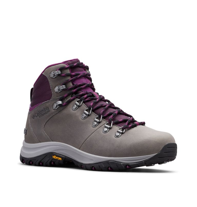 100MW™ TITANIUM OUTDRY™ | 033 | 9 Women's 100MW™ Titanium OutDry™ Hiking Boot, Ti Grey Steel, Black Cherry, 3/4 front