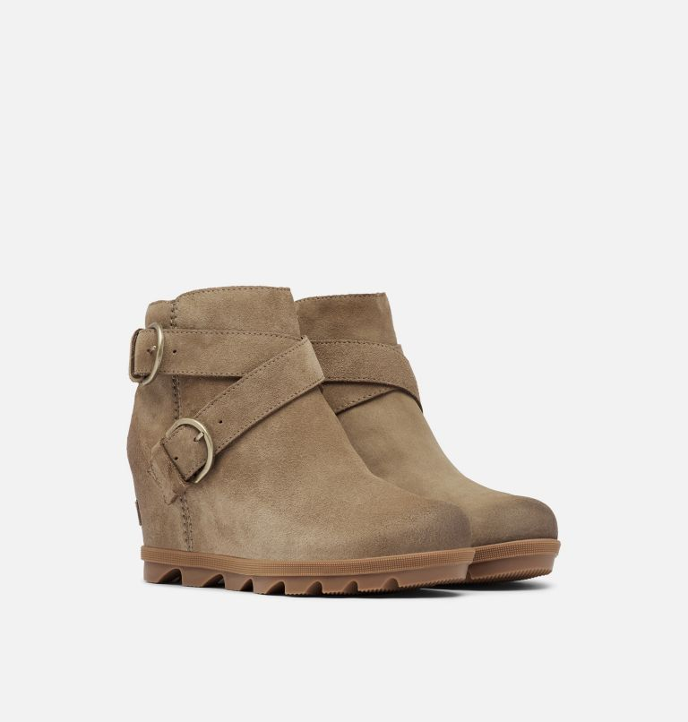 JOAN OF ARCTIC™ WEDGE II BUCKLE | 297 | 7.5 Women's Joan Of Arctic™ Wedge II Buckle Bootie, Khaki II, 3/4 front