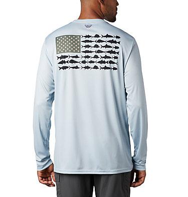 Men's Terminal Tackle PFG Fish Flag™ Long Sleeve Shirt Terminal Tackle PFG Fish Flag™ LS | 372 | L, Cool Grey, Sorbet, front