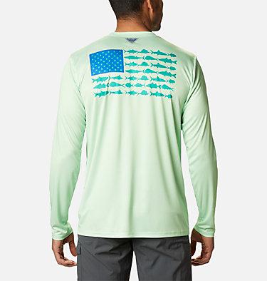 Men's Terminal Tackle PFG Fish Flag™ Long Sleeve Shirt Terminal Tackle PFG Fish Flag™ LS | 372 | L, Key West, Emerald Green, front