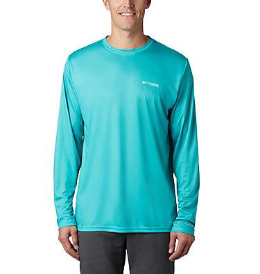 Men's Terminal Tackle PFG Fish Flag™ Long Sleeve Shirt Terminal Tackle PFG Fish Flag™ LS | 372 | L, Bright Aqua, Dark Pool, back
