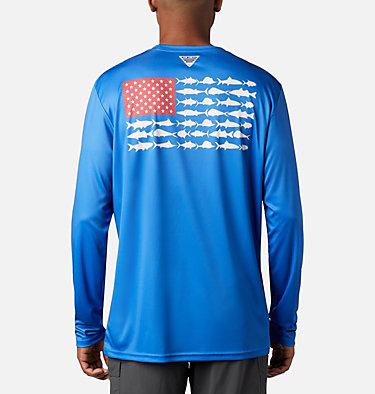 Men's Terminal Tackle PFG Fish Flag™ Long Sleeve Shirt Terminal Tackle PFG Fish Flag™ LS | 372 | L, Vivid Blue, White, front