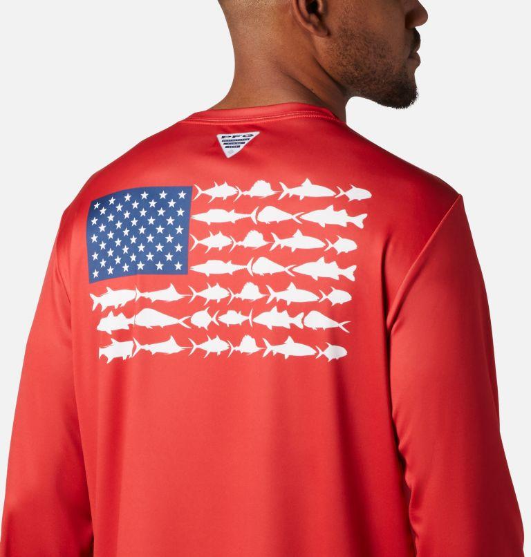 Terminal Tackle PFG Fish Flag™ LS | 696 | XXL Men's Terminal Tackle PFG Fish Flag™ Long Sleeve Shirt, Red Spark, White, a3