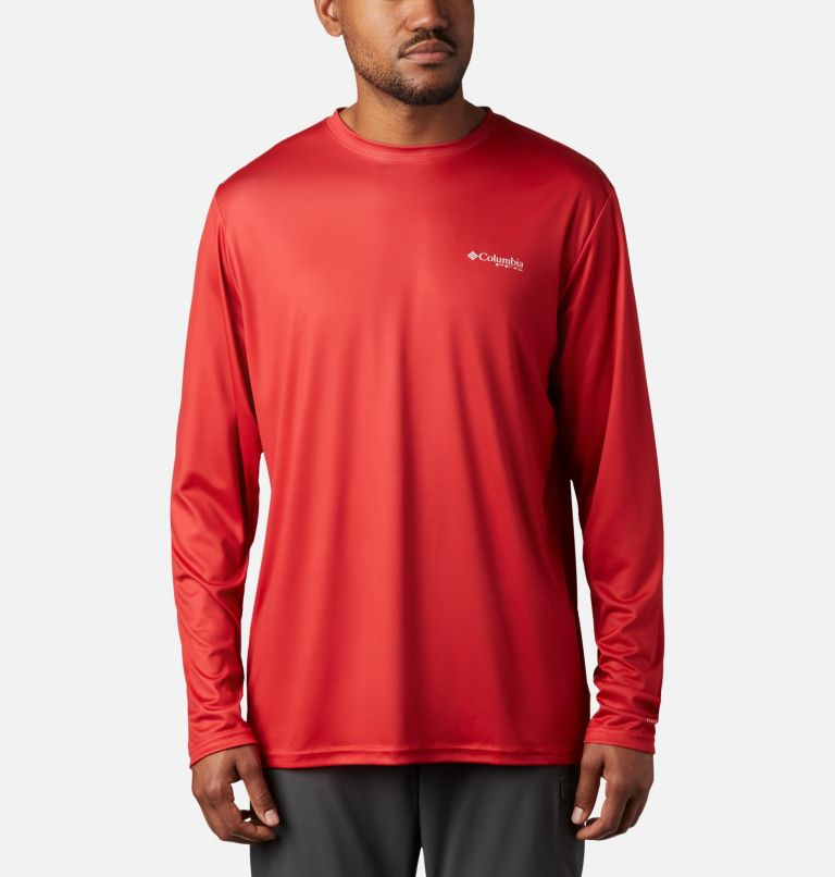Terminal Tackle PFG Fish Flag™ LS | 696 | XXL Men's Terminal Tackle PFG Fish Flag™ Long Sleeve Shirt, Red Spark, White, back