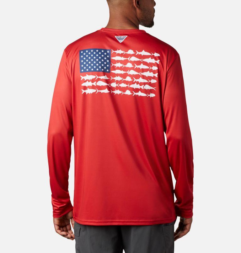 Terminal Tackle PFG Fish Flag™ LS | 696 | XXL Men's Terminal Tackle PFG Fish Flag™ Long Sleeve Shirt, Red Spark, White, front