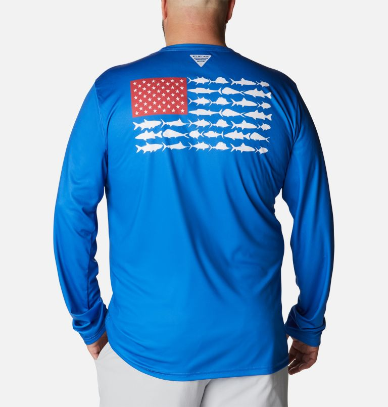Terminal Tackle PFG Fish Flag™ LS | 489 | 4X Men's Terminal Tackle PFG Fish Flag™ Long Sleeve Shirt - Big, Vivid Blue, White, front