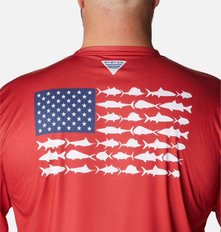 Terminal Tackle PFG Fish Flag™ LS | 696 | 1X Men's Terminal Tackle PFG Fish Flag™ Long Sleeve Shirt - Big, Red Spark, White, a3