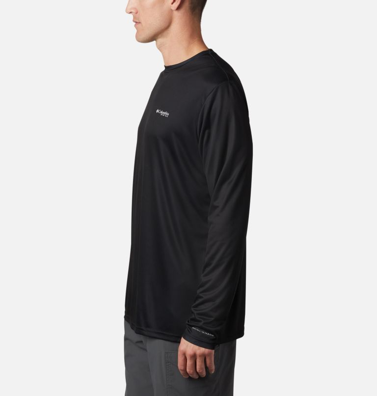 Terminal Tackle PFG Fish Flag™ LS | 012 | 4XT Men's Terminal Tackle PFG Fish Flag™ Long Sleeve Shirt - Tall, Black, Graphite, a1