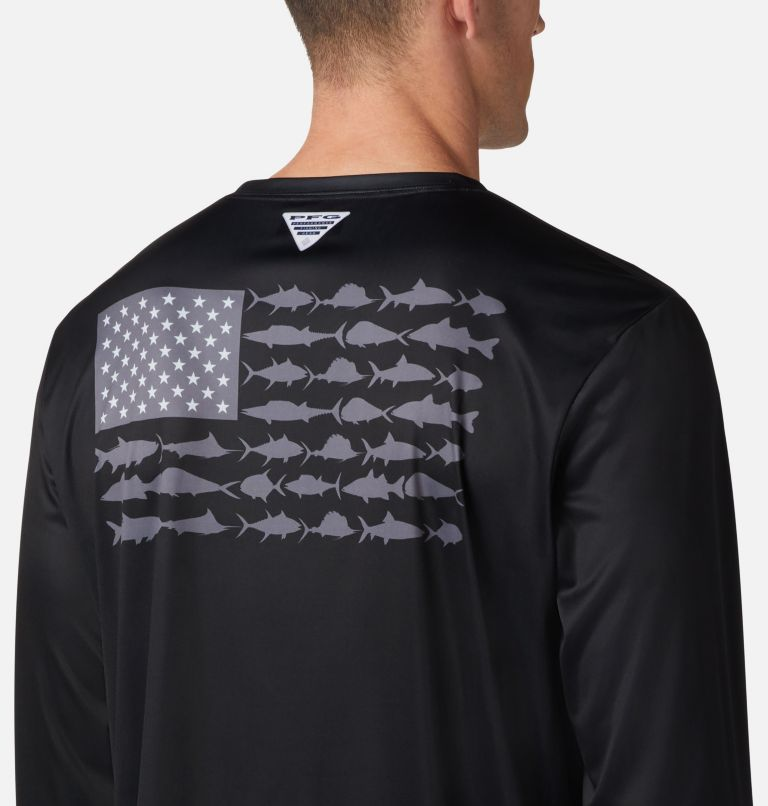 Terminal Tackle PFG Fish Flag™ LS | 012 | 4XT Men's Terminal Tackle PFG Fish Flag™ Long Sleeve Shirt - Tall, Black, Graphite, a2