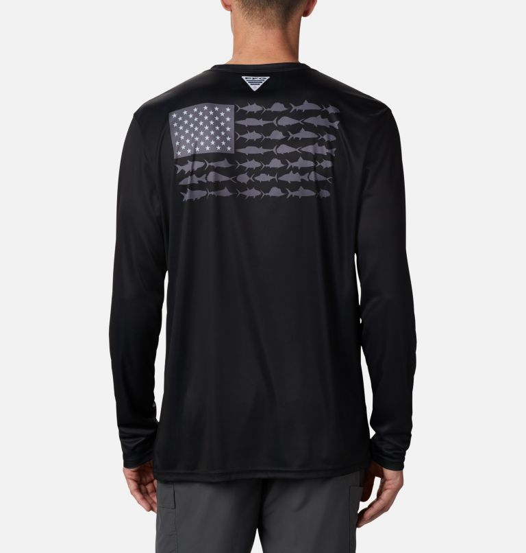 Terminal Tackle PFG Fish Flag™ LS | 012 | 4XT Men's Terminal Tackle PFG Fish Flag™ Long Sleeve Shirt - Tall, Black, Graphite, front