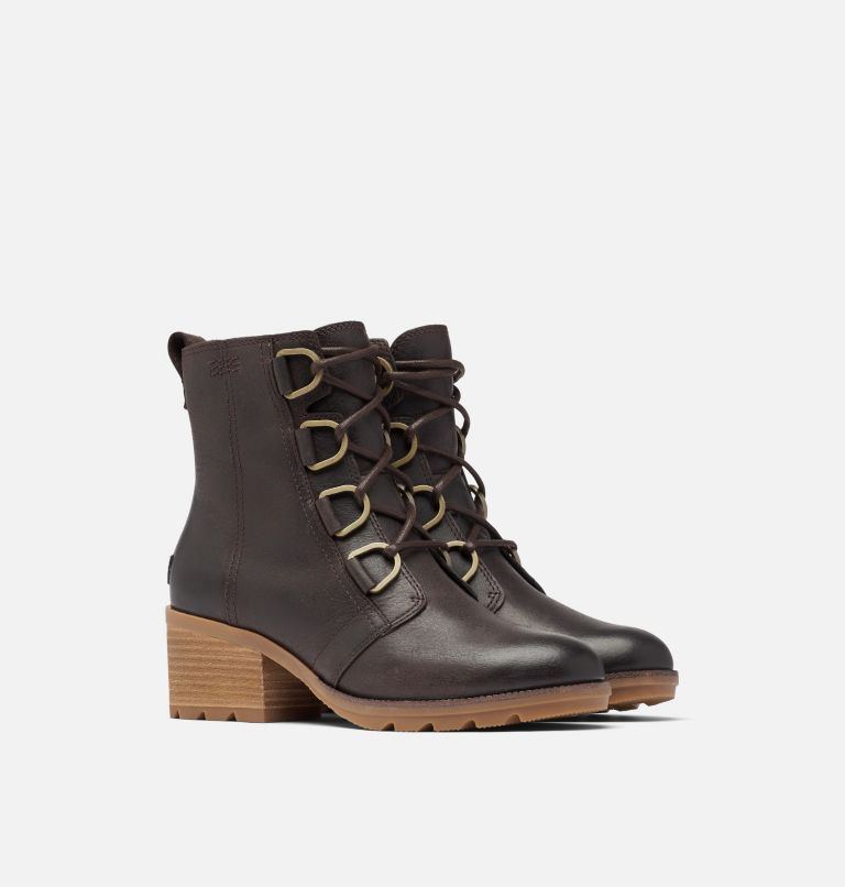 CATE™ LACE | 205 | 8 Women's Cate™ Lace Bootie, Blackened Brown, 3/4 front