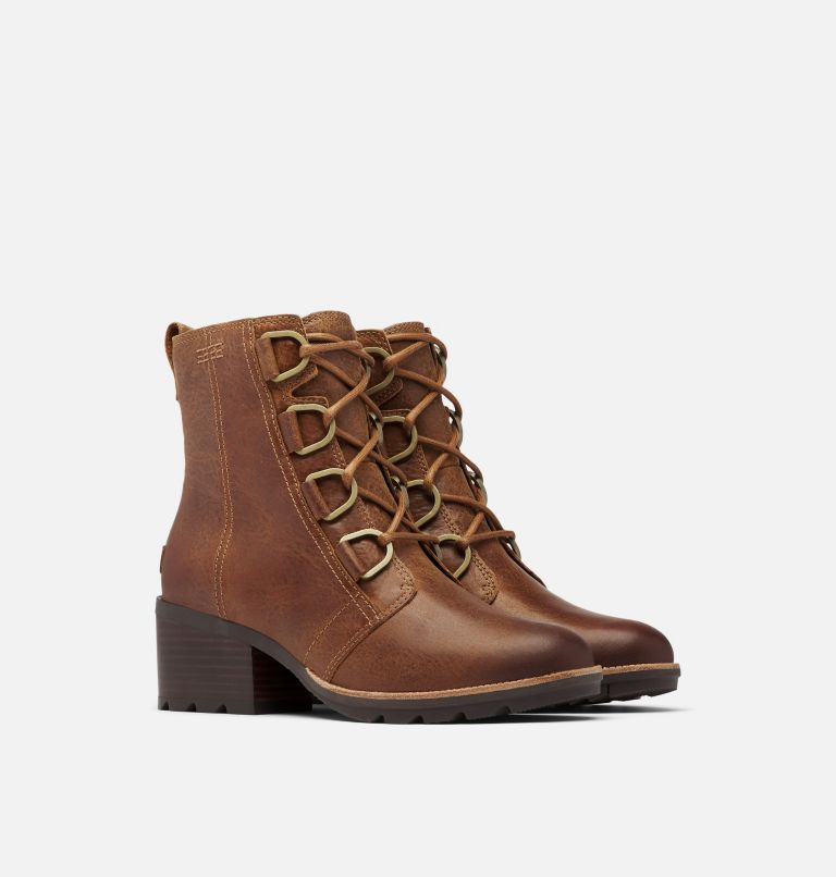 CATE™ LACE | 242 | 9 Women's Cate™ Lace Bootie, Velvet Tan, 3/4 front
