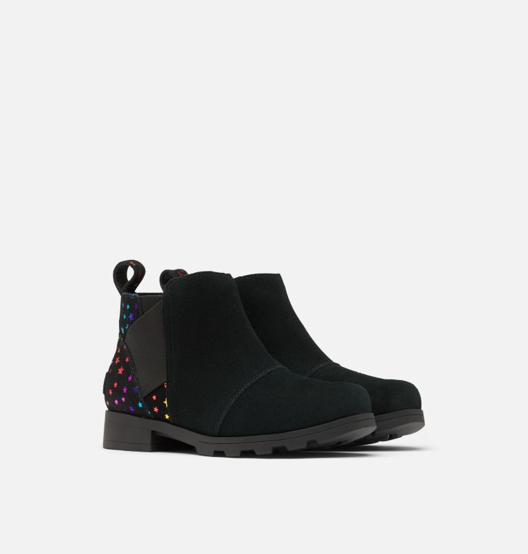 YOUTH EMELIE™ CHELSEA | 010 | 3 Youth Emelie™ Chelsea Bootie, Black, 3/4 front
