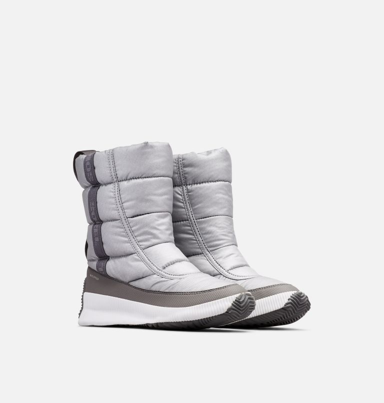 OUT N ABOUT™ PUFFY MID | 034 | 8 Women's  Out N About™ Puffy Mid, Pure Silver, 3/4 front