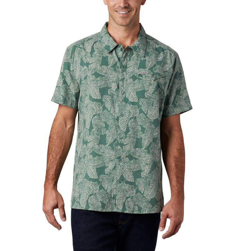 Lakeside Trail™ SS Shirt | 369 | M Men's Lakeside Trail™ Short Sleeve Shirt, Thyme Green Rad Palms Print, front