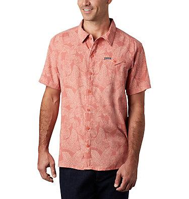 Men's Lakeside Trail™ Short Sleeve Shirt Lakeside Trail™ SS Shirt | 257 | L, Dark Coral Rad Palms Print, front