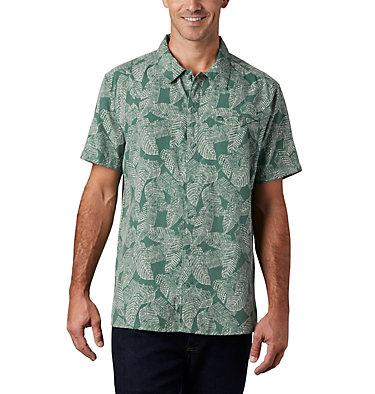 Men's Lakeside Trail™ Short Sleeve Shirt - Big Lakeside Trail™ SS Shirt | 369 | 1X, Thyme Green Rad Palms Print, front