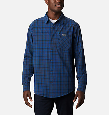 Camisa de manga larga Triple Canyon™ para hombre Triple Canyon™ LS Shirt | 432 | S, Bright Indigo Mini Tonal Plaid, front