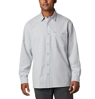 Men's PFG Zero Rules™ Woven Long Sleeve Shirt PFG ZERO Rules™ Woven LS | 450 | L, Cool Grey, front