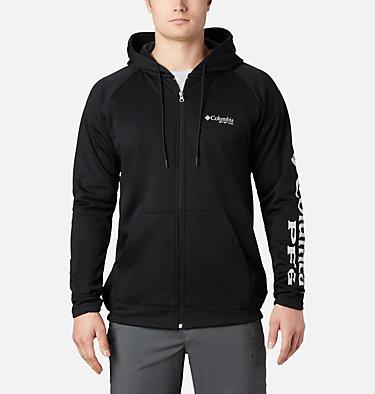 Men's PFG Terminal Tackle™ Fleece Full Zip Hoodie Terminal Tackle™ Fleece FZ Hoodie | 023 | L, Black, Cool Grey Logo, front