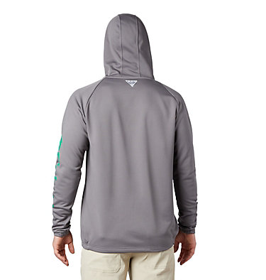 Men's PFG Terminal Tackle™ Fleece Full Zip Hoodie Terminal Tackle™ Fleece FZ Hoodie | 023 | L, City Grey, Dark Lime Logo, back