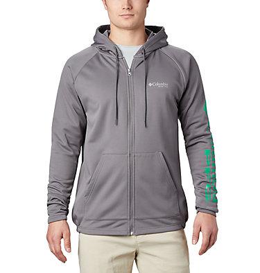 Men's PFG Terminal Tackle™ Fleece Full Zip Hoodie Terminal Tackle™ Fleece FZ Hoodie | 023 | L, City Grey, Dark Lime Logo, front