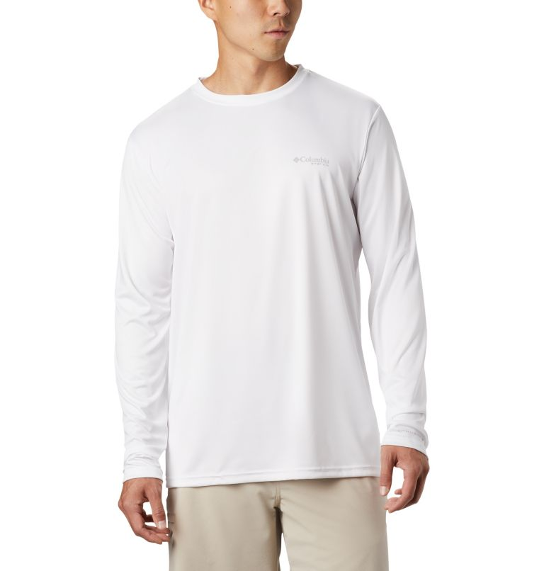 Terminal Tackle PFG™ Tribal Fish LS | 100 | S Men's PFG Terminal Tackle™ Tribal Fish Long Sleeve Shirt, White, Marlin, back