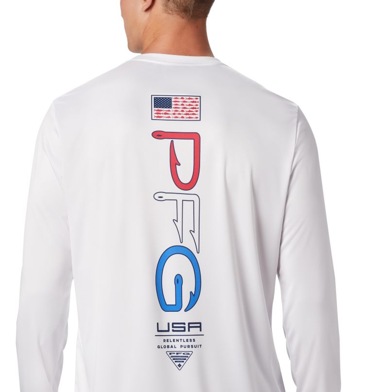 Terminal Tackle PFG™ Americana LS | 100 | XL Men's PFG Terminal Tackle™ Americana Long Sleeve Shirt, White, a3