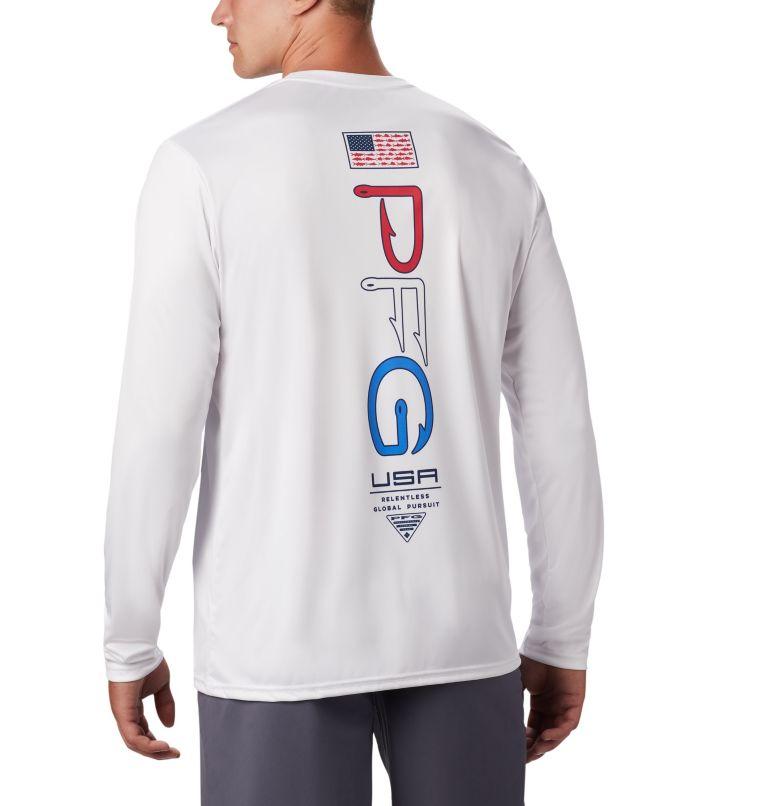 Terminal Tackle PFG™ Americana LS | 100 | L Men's PFG Terminal Tackle™ Americana Long Sleeve Shirt, White, front