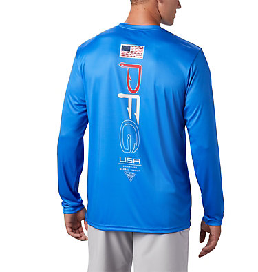 Men's PFG Terminal Tackle™ Americana Long Sleeve Shirt Terminal Tackle PFG™ Americana LS | 696 | XS, Vivid Blue, front