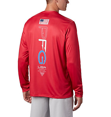 Men's PFG Terminal Tackle™ Americana Long Sleeve Shirt Terminal Tackle PFG™ Americana LS | 696 | XS, Red Spark, front