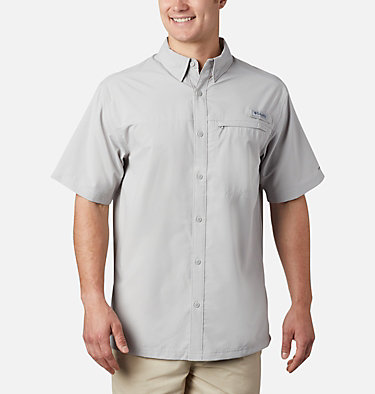 Men's PFG Grander Marlin™ Woven Short Sleeve Shirt Grander Marlin™ Woven SS | 487 | L, Cool Grey, front