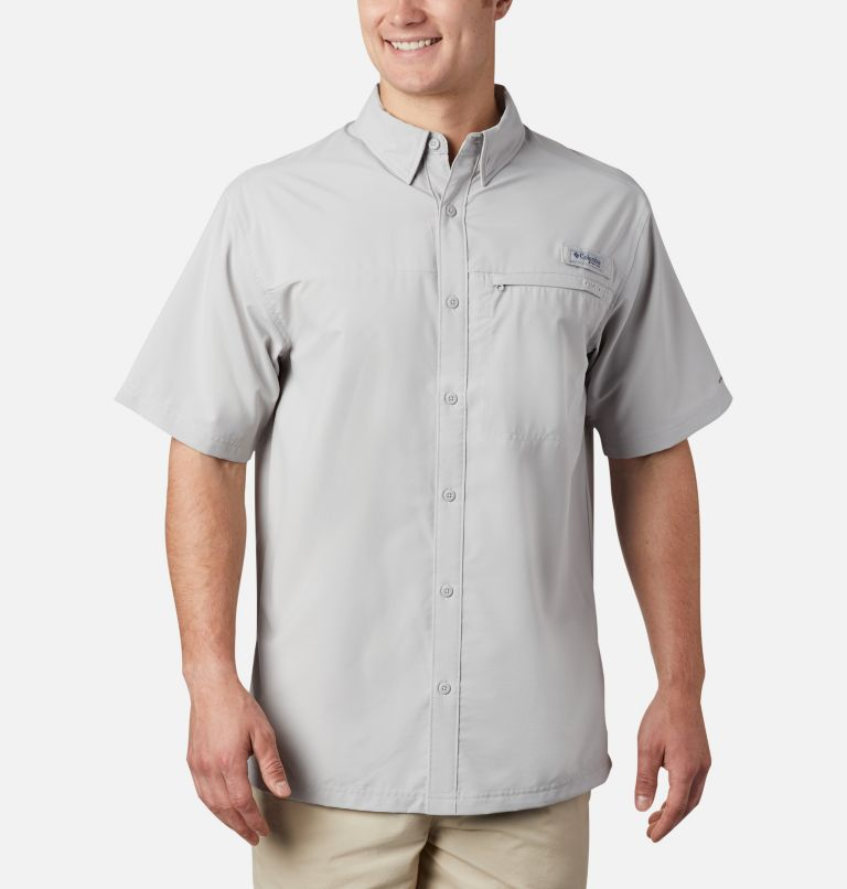 Grander Marlin™ Woven SS | 019 | XS Men's PFG Grander Marlin™ Woven Short Sleeve Shirt, Cool Grey, front