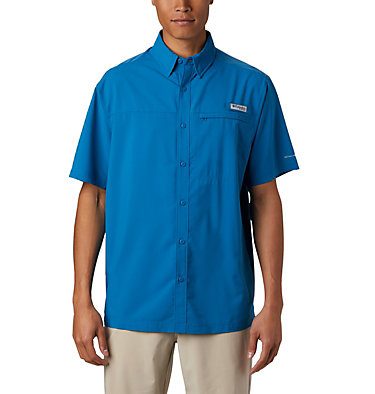 Men's PFG Grander Marlin™ Woven Short Sleeve Shirt Grander Marlin™ Woven SS | 487 | L, Dark Pool, front