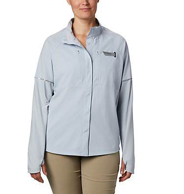 Women's PFG Ultimate Catch ZERO™ Long Sleeve Hybrid Shirt Ultimate Catch ZERO™ LS Hybrid | 807 | L, Cirrus Grey, front
